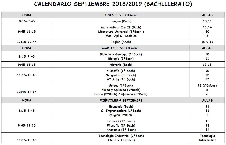 Calendario De Septiembre.Calendario De Septiembre Examenes Entrega De Notas Y Devolucion De