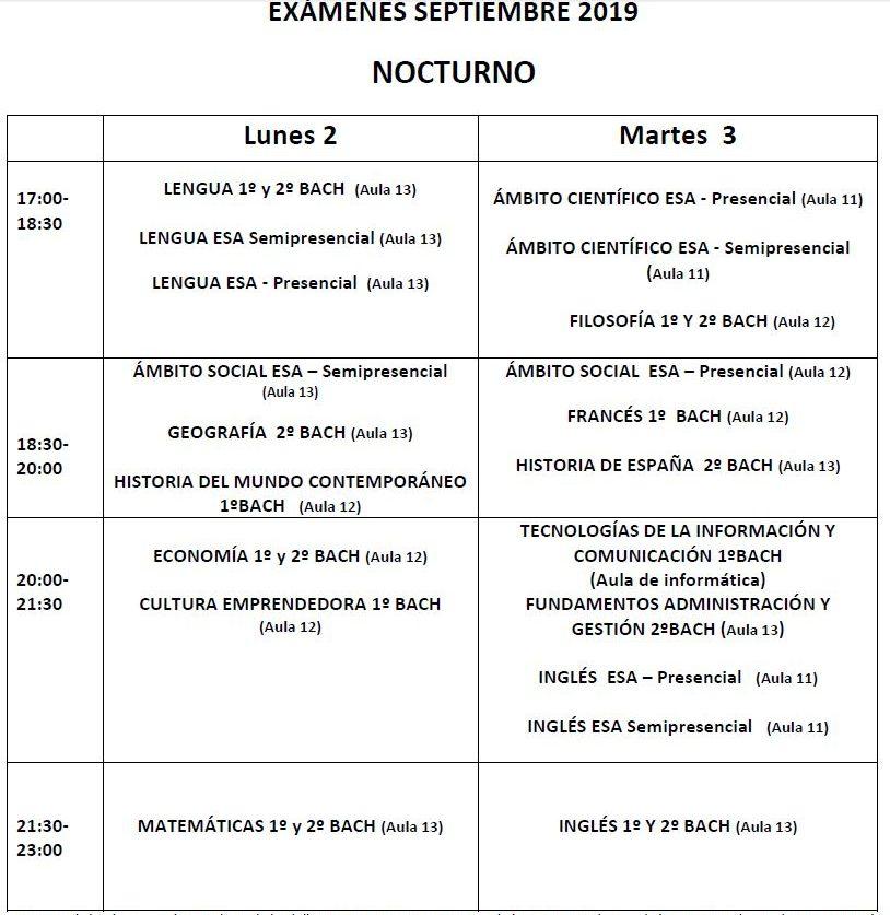 Calendario De Septiembre.Calendario De Septiembre Nocturno Examenes Y Entrega De Notas Ies
